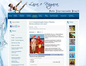 Reprodução site de lara e nayara nado sincronizado (Foto: Reprodução / Site Oficial)