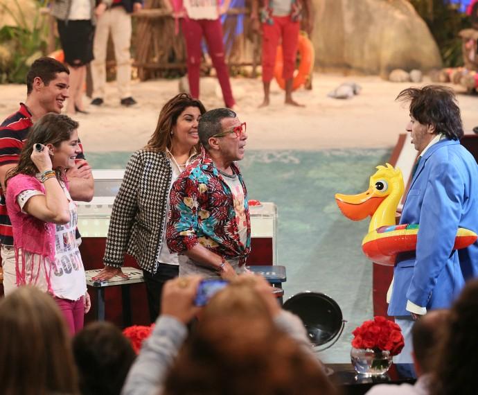 Tom Cavalcante, interpretando João Canabrava, surgiu na plateia (Foto: Isabella Pinheiro/Gshow)
