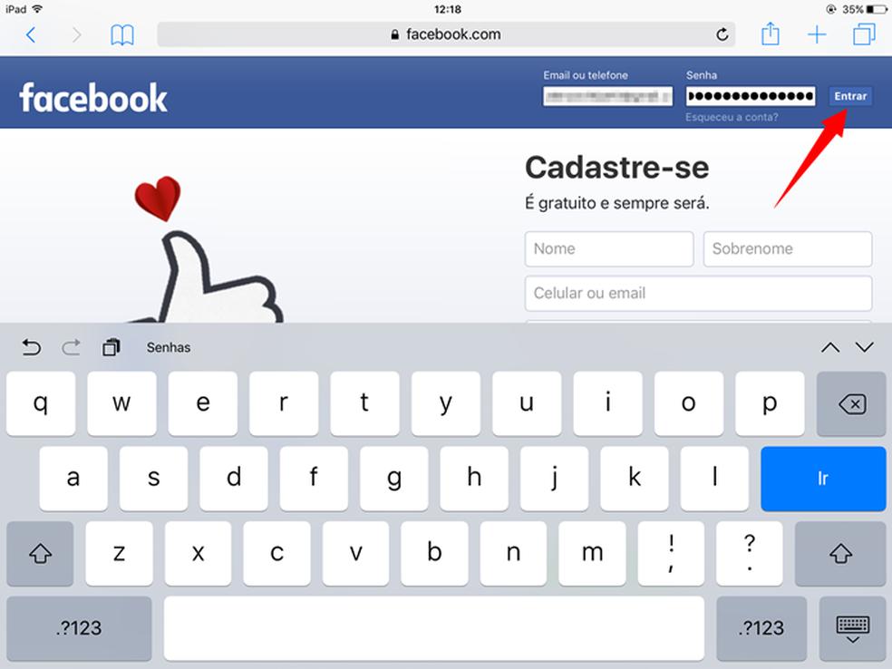 Entre com seu login e senha em qualquer rede social pelo Safari no iPhone ou iPad (Foto: Reprodução/Felipe Alencar)