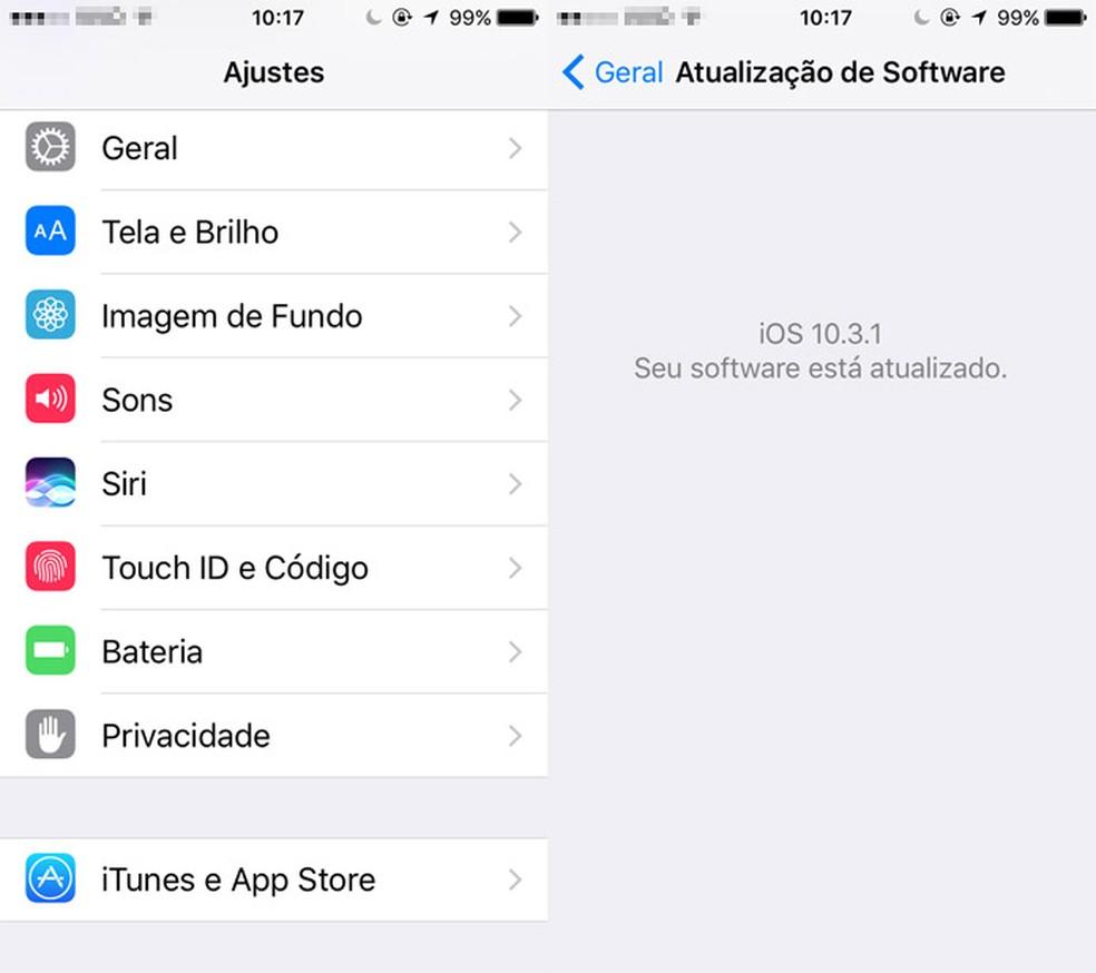 Todos os aparelhos da Apple recebem atualização do iOS ao mesmo tempo (Foto: Reprodução/Pedro Cardoso)