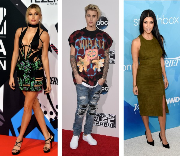 Hailey Baldwin, Justin Bieber e Kourtney Kardashian (Foto: Getty Images)