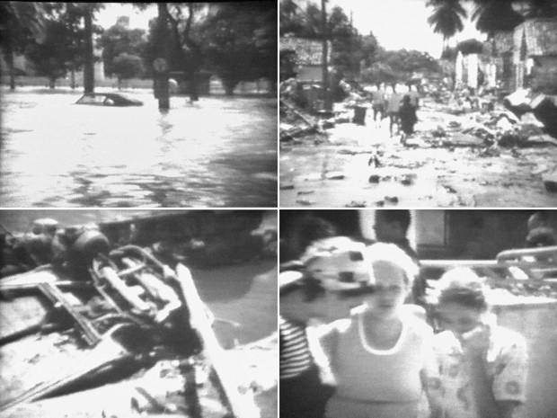 Famílias perderam o patrimônio de uma vida inteira, árvores tombaram e carros ficaram virados por todos os lugares. Em meio ao caos, hospitais funcionavam à luz de velas, e o transporte pelos bairros era improvisado em botes e barcos (Foto: Fernando Oliveira/Acervo pessoal)