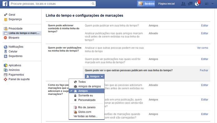 """Selecione também a opção """"Amigos"""" no Facebook (Foto: Reprodução/Barbara Mannara)"""