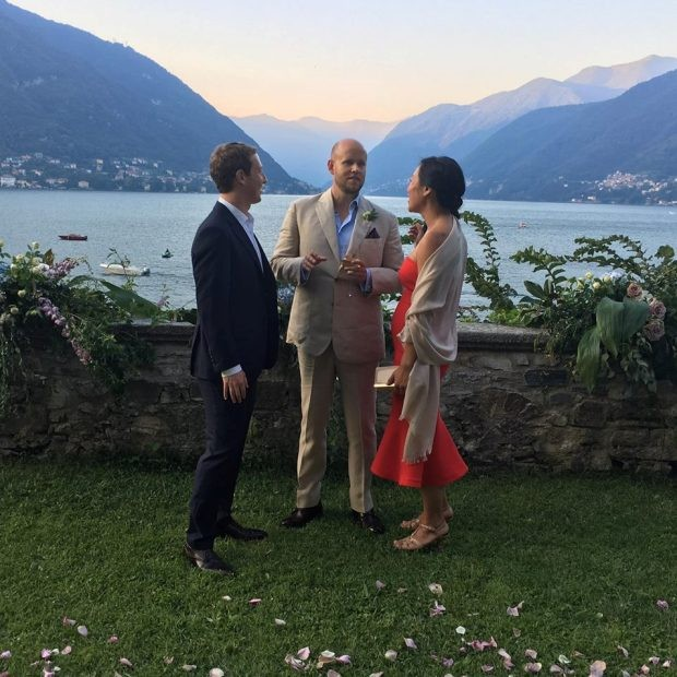 Mark Zuckerberg, Daniel Ek e Priscilla Chan  (Foto: Reprodução/Facebook)