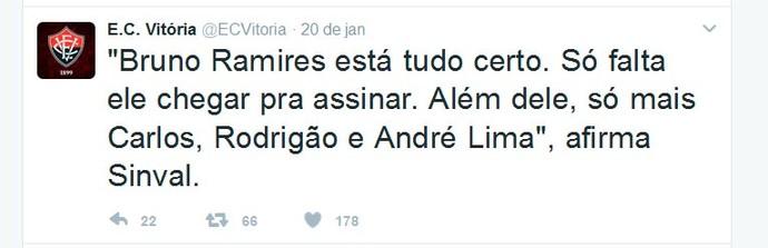 twitter; vitória; bruno ramires (Foto: Reprodução)