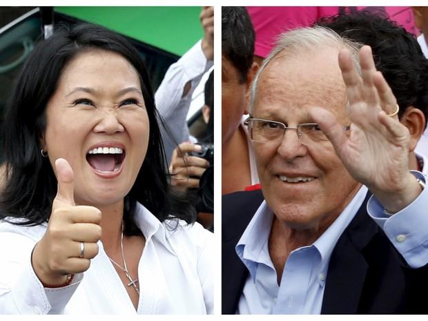 Combinação de fotos mostra os candidatos peruanos à presidência Keiko Fujimori e Pedro Pablo Kuczynski (Foto: Mariana Bazo/Reuters e Arquivo/Reuters)