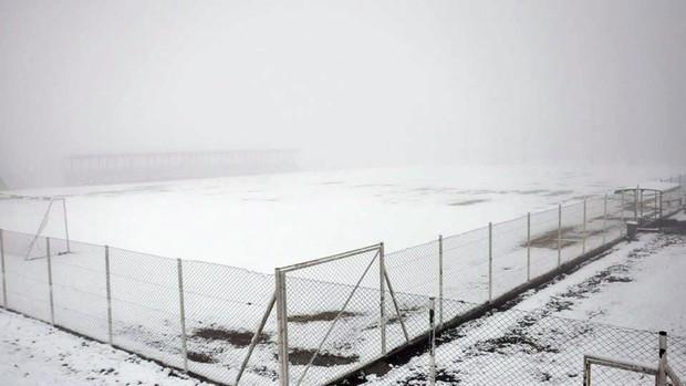 Campo de treinamento do Juventude sob neve  (Foto: Rodrigo Pedroni / Juventude, DVG)