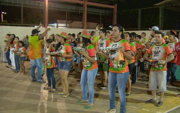 Bateria da escola de samba Piratas Estilizados (Foto: Reprodução/TV Amapá)