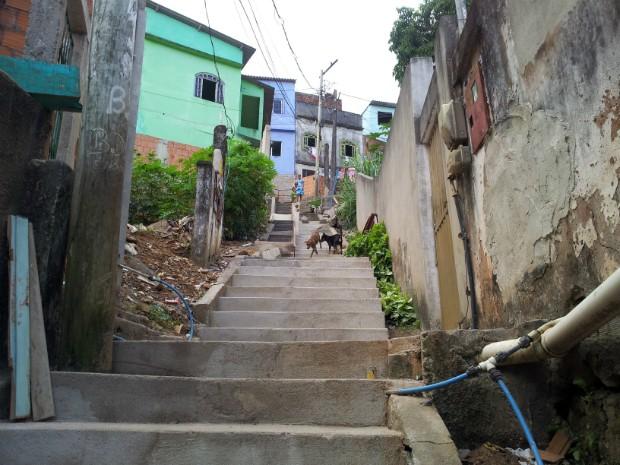 Todos os dias, Adrielle precisa subir um morro e uma escadaria para chegar em casa, em Vitória (Foto: Juliana Borges/ G1 ES)