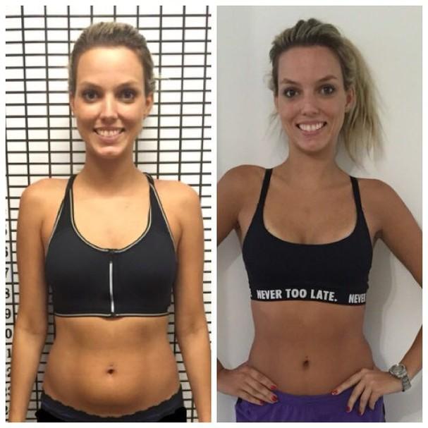 O antes e depois da Bia após um mês de desafio (Foto: Acervo pessoal)