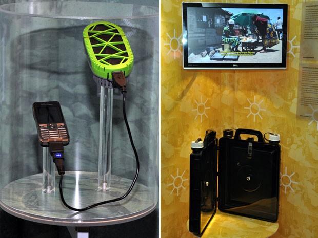 Carregador ecológico de celular e purificador de água suja estão expostos no CCBB (Foto: Divulgação)