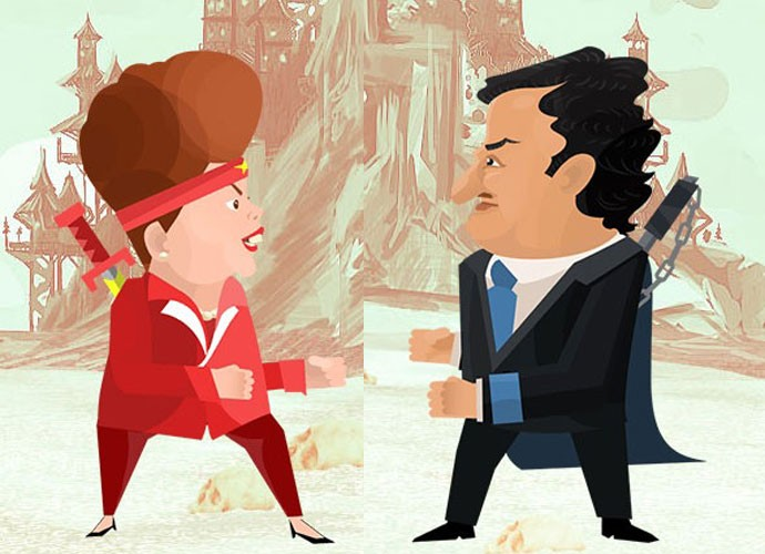 Dilma e Aécio brigam no 'Urna Fight', jogo da startup 'Projeto Brasil', focada na transparência do poder público.