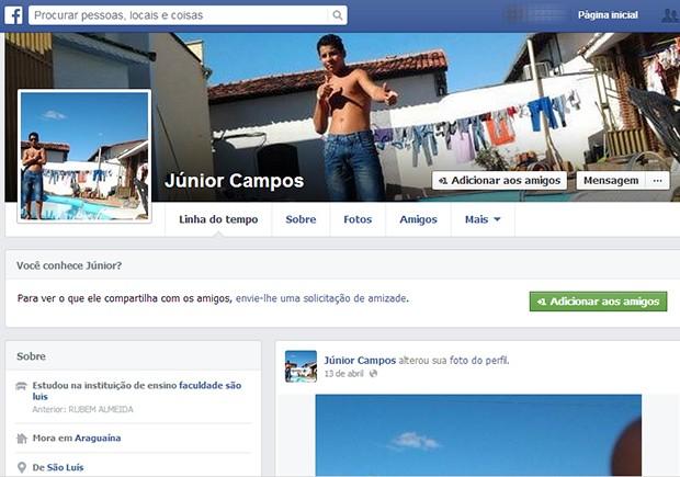 Nas redes sociais o jovem colocou que morava em Araguaína (Foto: Reprodução/Facebook)