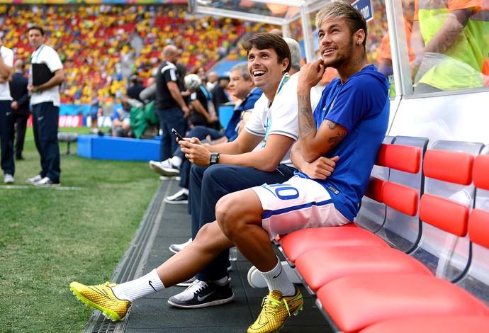 Neymar banco de reservas jogo Brasil x Holanda (Foto: Getty Images)