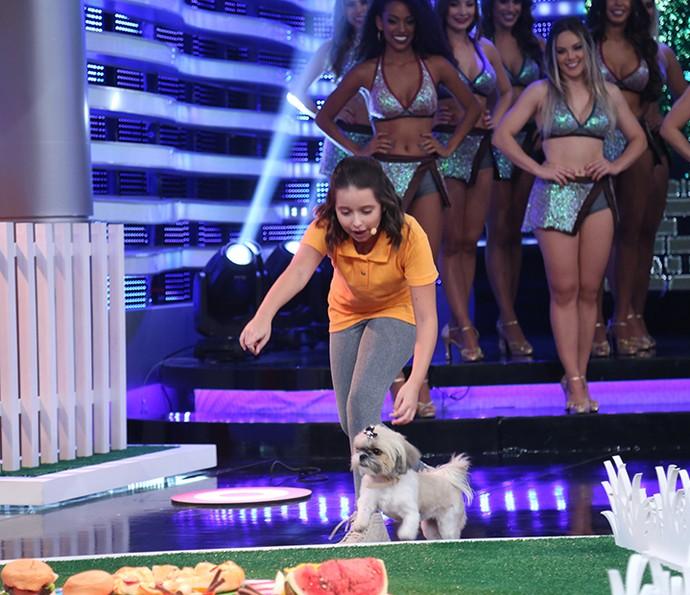 Lanai de Sá mostrou sintonia com a cadelinha Cinderela (Foto: Carol Caminha/Gshow)