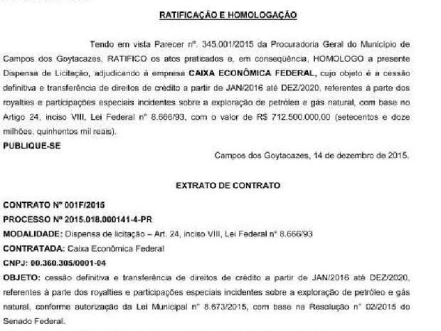 Medida foi publicada no Diário Oficial da cidade (Foto: Reprodução/ Prefeitura de Campos)