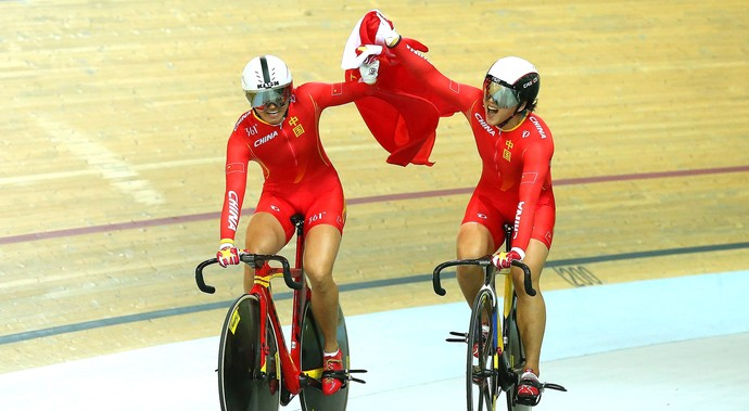 Jinjie Gong e Tianshi Zhong, 2015 UCI Track Cycling World Championships (Foto: Getty Images)
