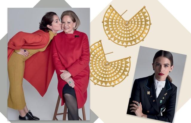 Vanda Jacintho e a neta, Vandinha. Brincos Maya, de ouro e diamantes e, ao lado, Luiza Almeida (Foto: Bob Wolfenson e Divulgação)