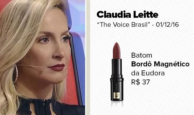 O batom vermelho, usado pela técnica Claudia Leitte, no The Voice Brasil, do dia 01/12/16, é da Eudora, cor Bordô Magnético. (Foto: Sandy Bahia/EGO)