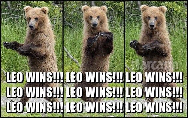 Urso 'comemora' vitória de Leonardo DiCaprio (Foto: Reprodução/Twitter/OMGtrolls)