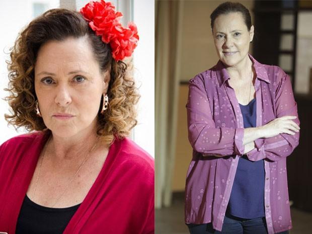 Elizabeth Savala em Amor à Vida e agora como Tina em Alto Astral (Foto: Raphael Dias/Artur Meninea/Gshow)