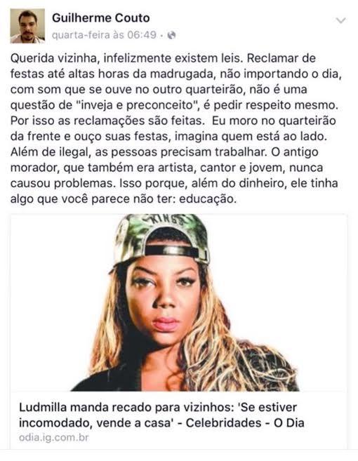 Vizinho chama Ludmilla de sem educação (Foto: reprodução/facebook)