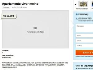 Anúncio ilegal de venda imóvel Minha Casa Minha Vida em Manaus (Foto: Reprodução)