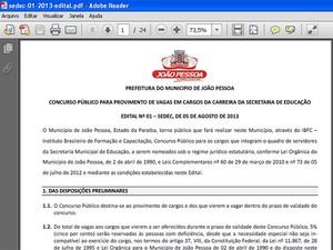 Edital de concurso de João Pessoa vaza antes da divulgação oficial (Foto: Reprodução)