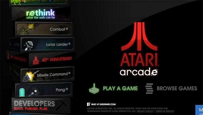 Site da Atari tem versões refeitas dos clássicos (Foto: Reprodução/Felipe Vinha)