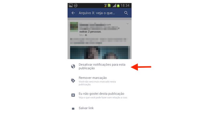 Desativando as notificações em uma postagem onde o usuário foi marcado no Facebook para Android (Foto: Reprodução/Marvin Costa)