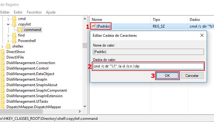 Configurando o valor padrão da chave para cmd /c dir %1 /b /a:-d /o:n | clip (Foto: Reprodução/Edivaldo Brito)
