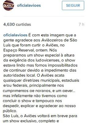 No Instagram, Aviões do Forró explicam o ocorrido (Foto: Reprodução/ Instagram)