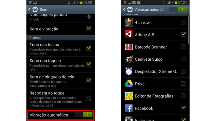 Desligue o recurso da Vibração automática ou selecione os apps que poderão utilizá-lo (Foto: Reprodução/Daniel Ribeiro)