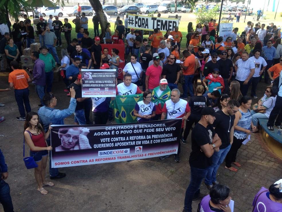 Protesto em Porto Velho (Foto: Hosana Morais/G1)