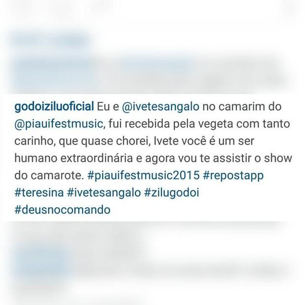 Zilu é traída por corretor ortográfco na hora de escrever o nome de Ivete Sangalo (Foto: reprodução/instagram)