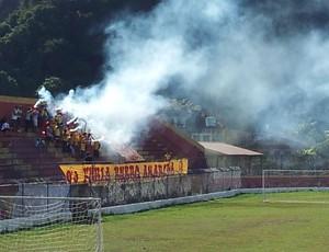 Torcida do Jabaquara faz festa no Estádio Espanha (Foto: Fúlvio Feola / Globoesporte.com)
