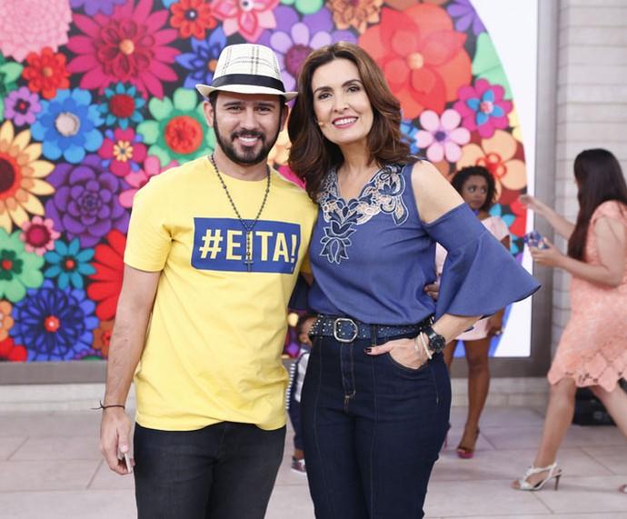 Fátima com o parceiro Bráulio Bessa (Foto: Fábio Rocha/Gshow)