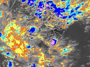 Imagem do satélite GOES no canal infravermelho às 15h30 (local) do dia 21 de março de 2015 (Foto: Reprodução/ INPE/CPTEC)