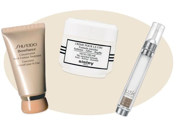 Concentrated Neck Contour Treatment, R$ 496, Shiseido; Creme Pour Le Cou, R$ 990, Sisley; e U.SK Dermaplump, R$ 299, Under Skin (Foto: Divulgação)