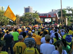 Manifestantes protestam contra o governo Dilma em MS (Foto: Adriel Mattos/ G1 MS)