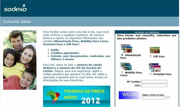 Página falsa solicita dados de vários cartões emitidos pela Sodexo, entre eles vale-alimentação e cartão-presente (Foto: Reprodução)
