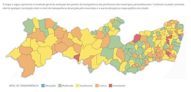 Mapa de Pernambuco detalha nível de transparência dos municípios (Foto: Reprodução/TCE-PE)