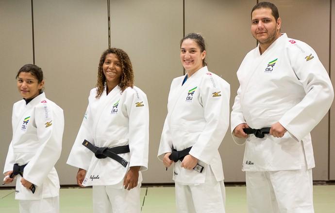 Seleção brasileira judô Pan Edmonton Rafael Silva Rafaela Silva Mayra Aguiar Sarah Menezes (Foto: Rafal Burza/CBJ)