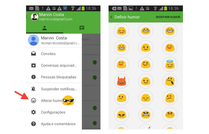 Definindo o humor no status de usuário do Hangouts no Android (Foto: Reprodução/Marvin Costa)