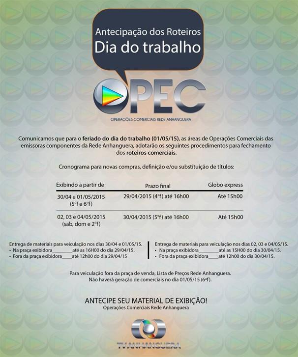 Opec - Antecipação Roteiros Dia do Trabalho (Foto: TV Anhanguera)
