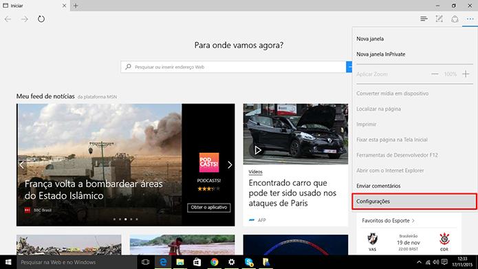 Microsoft Edge pode ter dados sincronizados a partir das configurações do dispositivo (Foto: Reprodução/Elson de Souza)