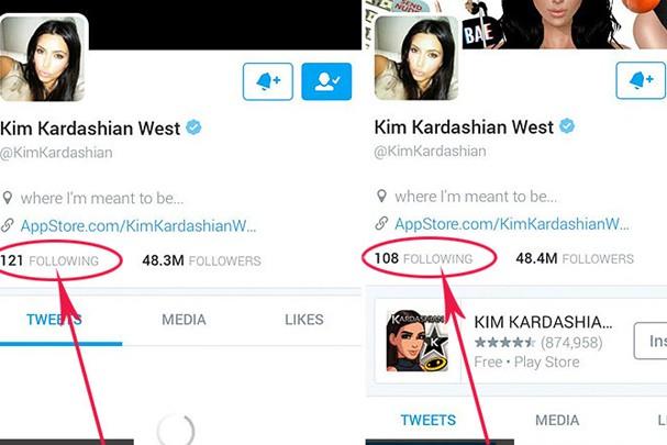 Kim Kardashian deu unfollow em 13 pessoas no Twitter (Foto: Reprodução/Twitter)