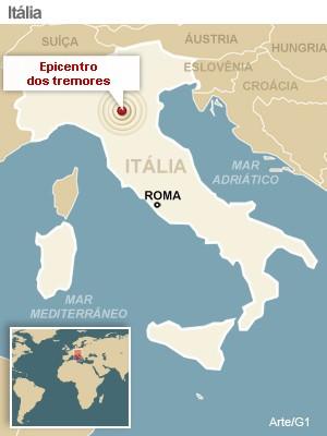 mapa terremoto italia versao 2 (Foto: arte g1)