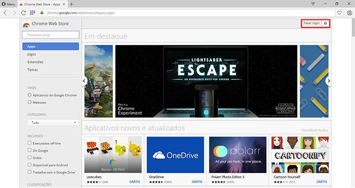 Usuário pode fazer login na Chrome Web Store para sincronizar dados (Foto: Reprodução/Elson de Souza)