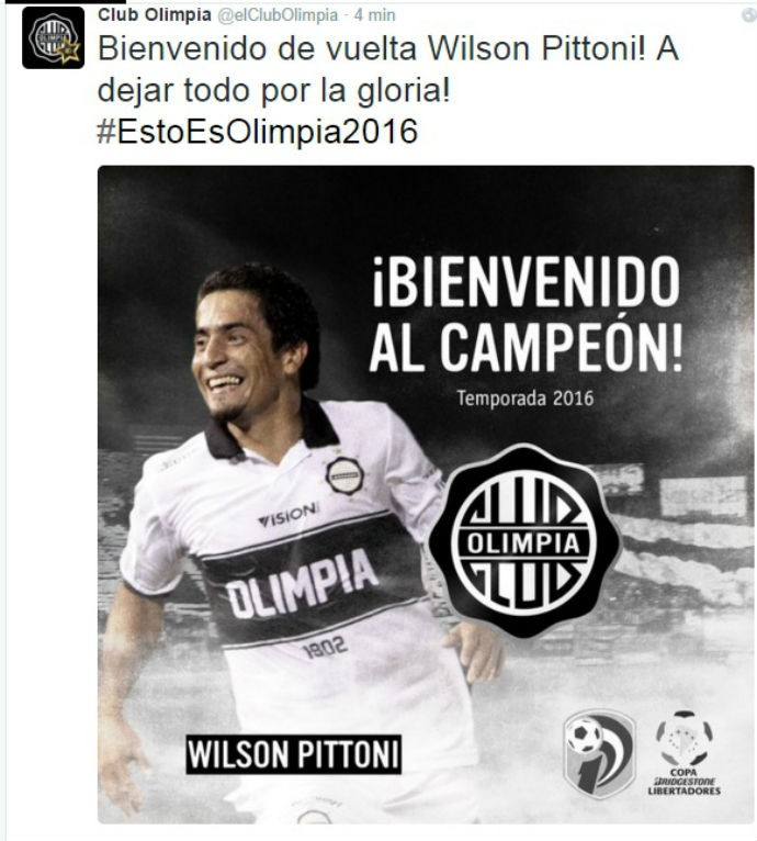 Olímpia anuncia Wilson Pittoni (Foto: Reprodução / Twitter)